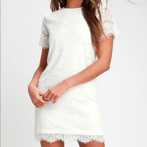 Lulu's Dresses - Lulu's Beautiful Ivory Lace Shift Dress- Size S